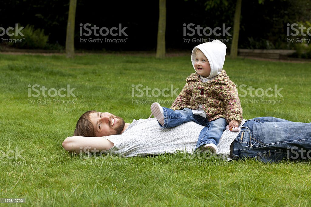 Happy father with child in the park royalty-free stock photo