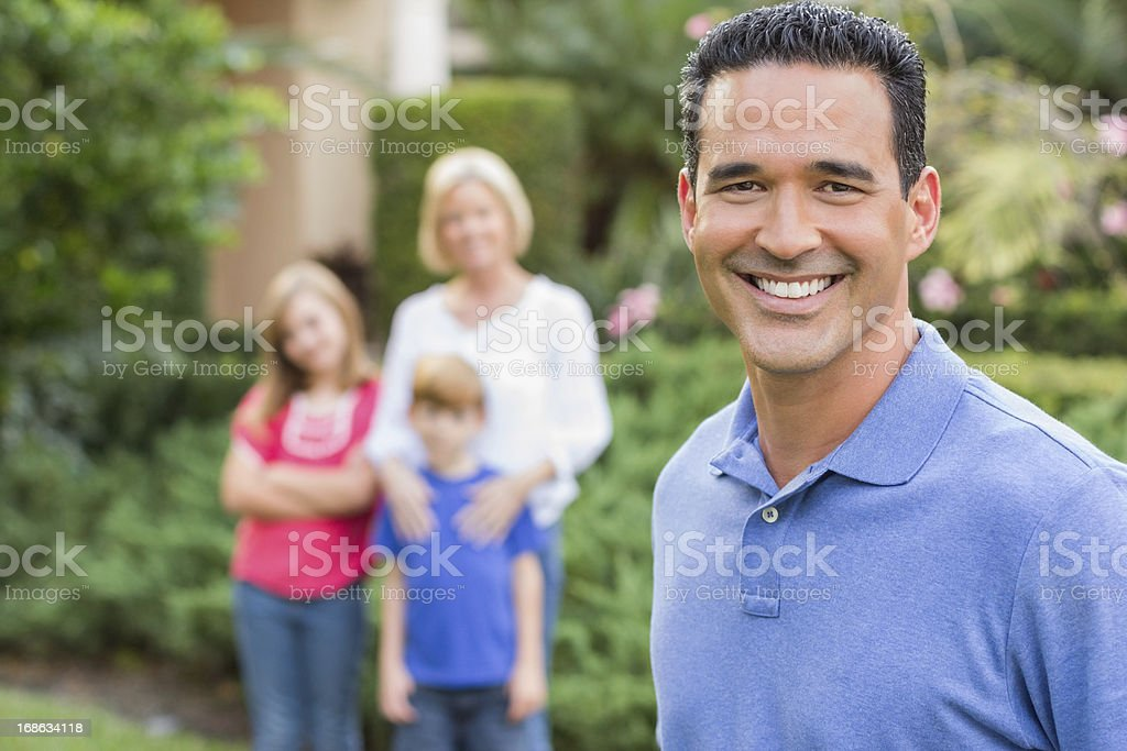 Happy Father With Family In Background royalty-free stock photo