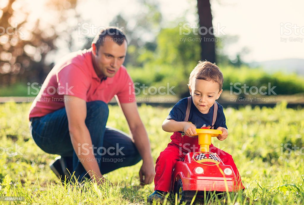 Happy father with his son stock photo