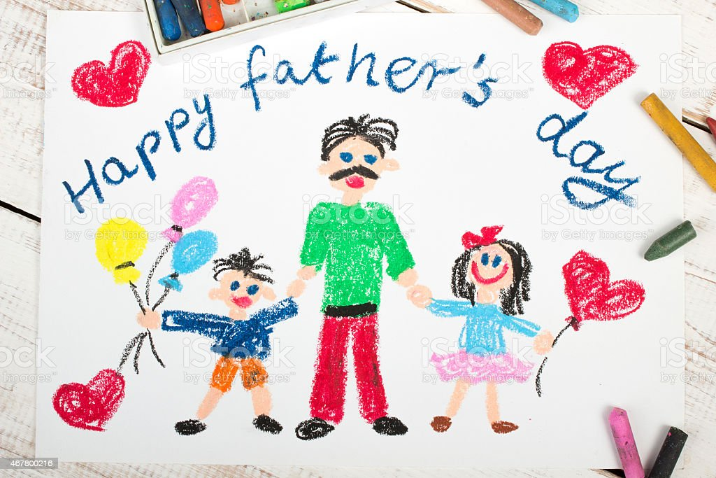 Happy Fathers day card with father and kids made by child stock photo