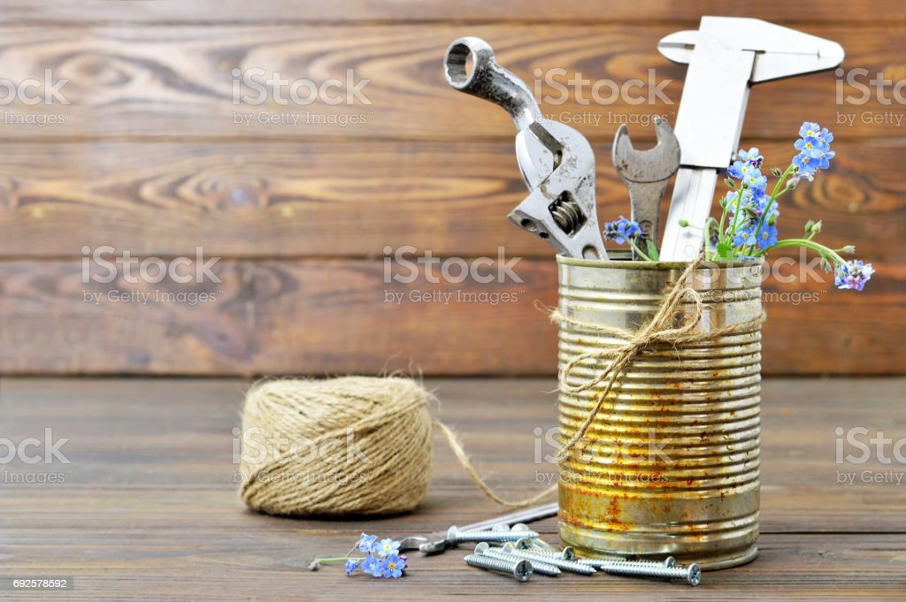 Happy Fathers Day card with tools in rusty can