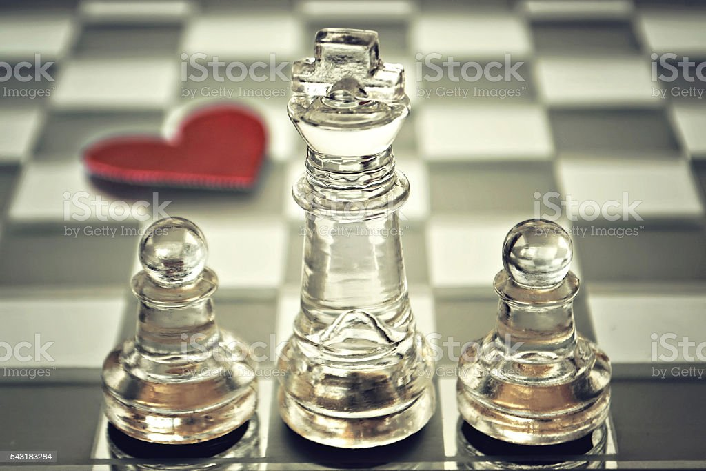 Happy Father's Day: King and pawns on chess board stock photo