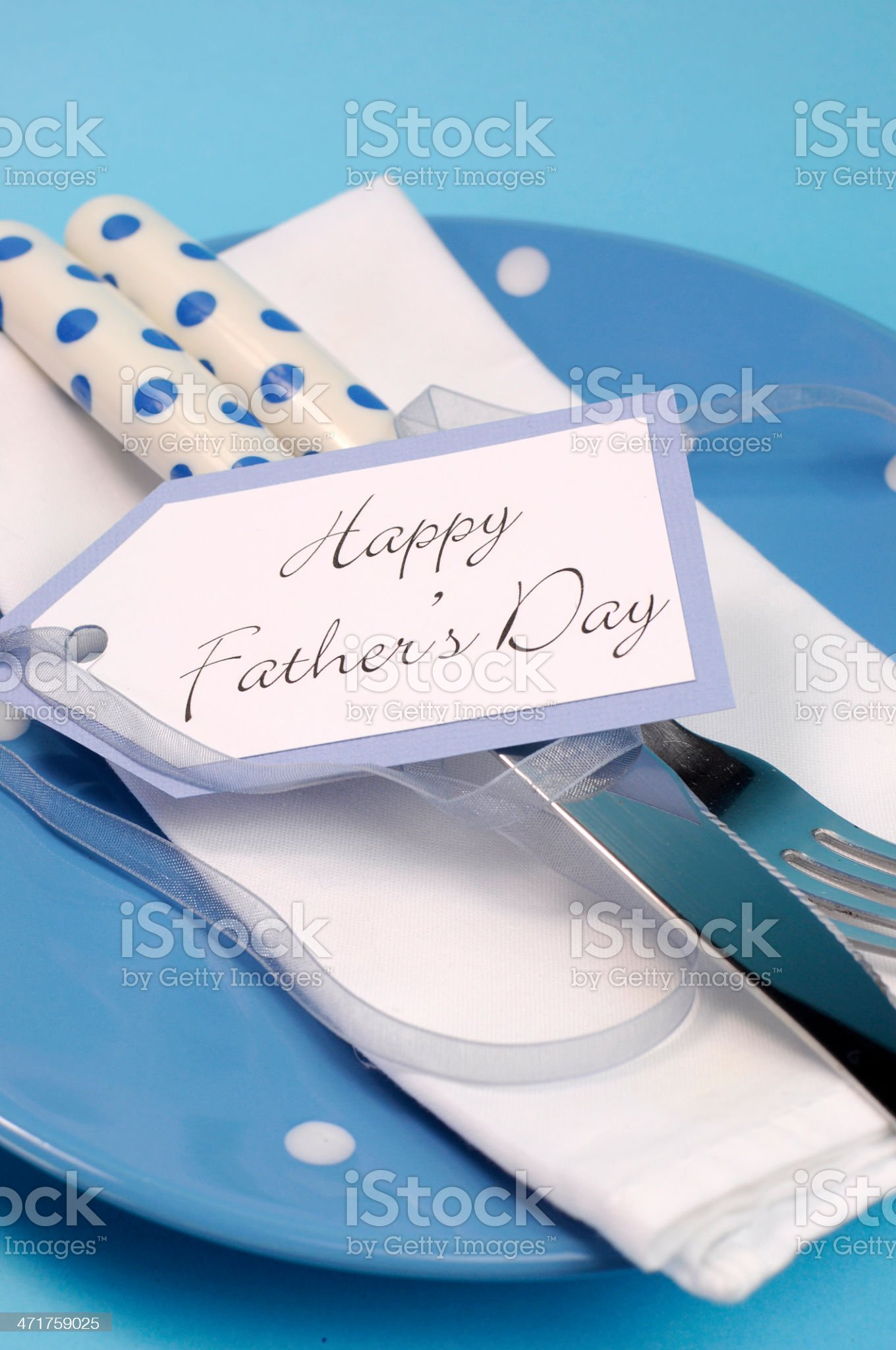 Happy Fathers Day table place setting close up royalty-free stock photo