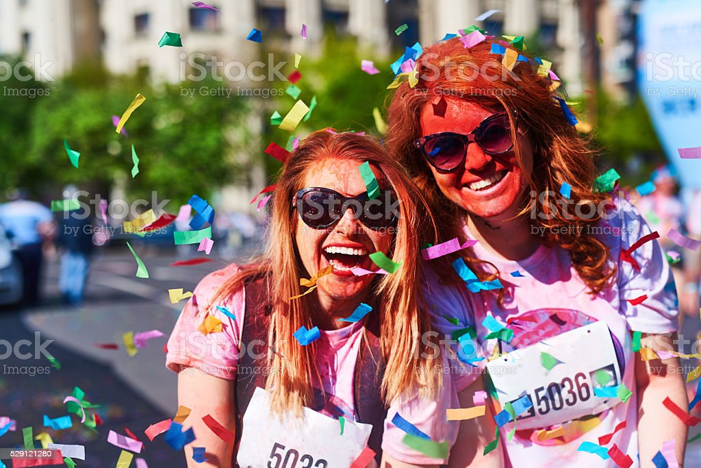 happy feelings at holi color festival stock photo
