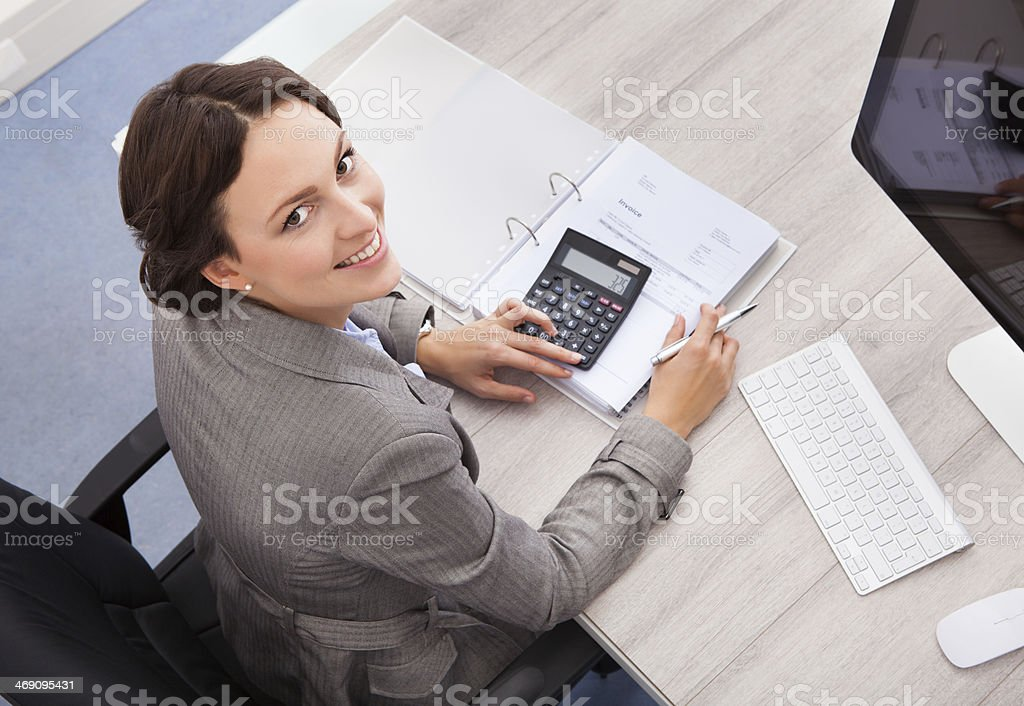 Happy Female Accountant stock photo
