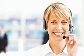 Happy Female Call Centre Employee