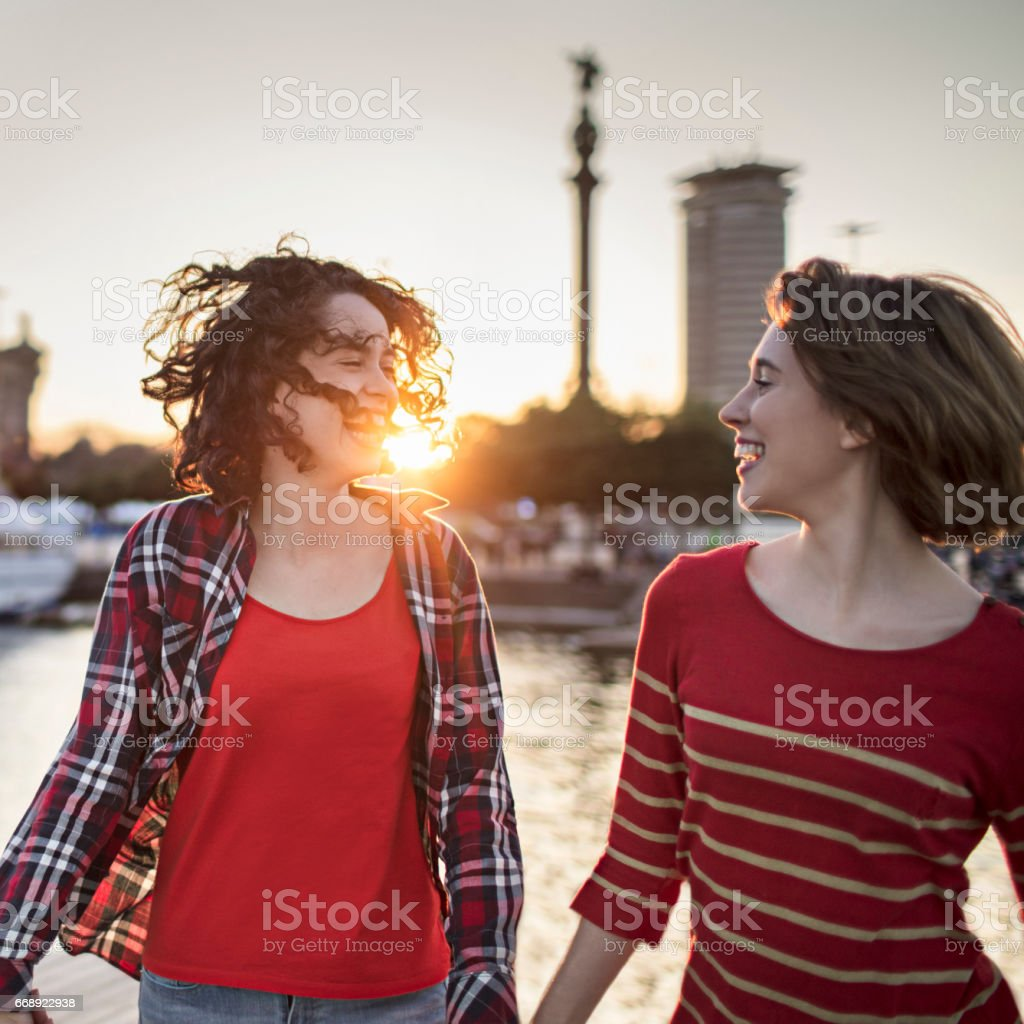 Happy female friends walking at harbor in city stock photo