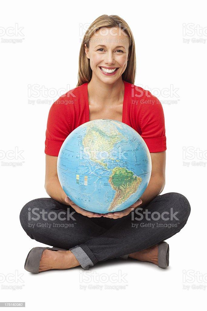 Happy Female Holding Globe - Isolated stock photo