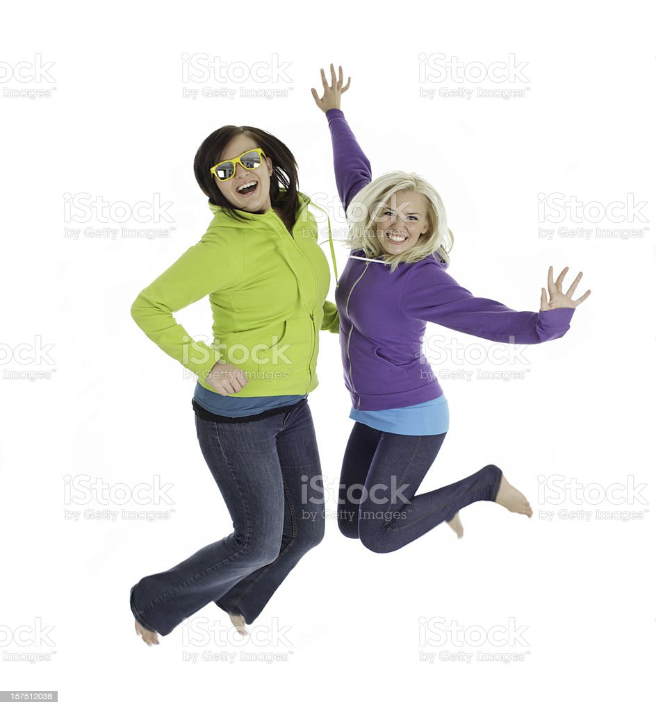 Happy Female Jumpers royalty-free stock photo