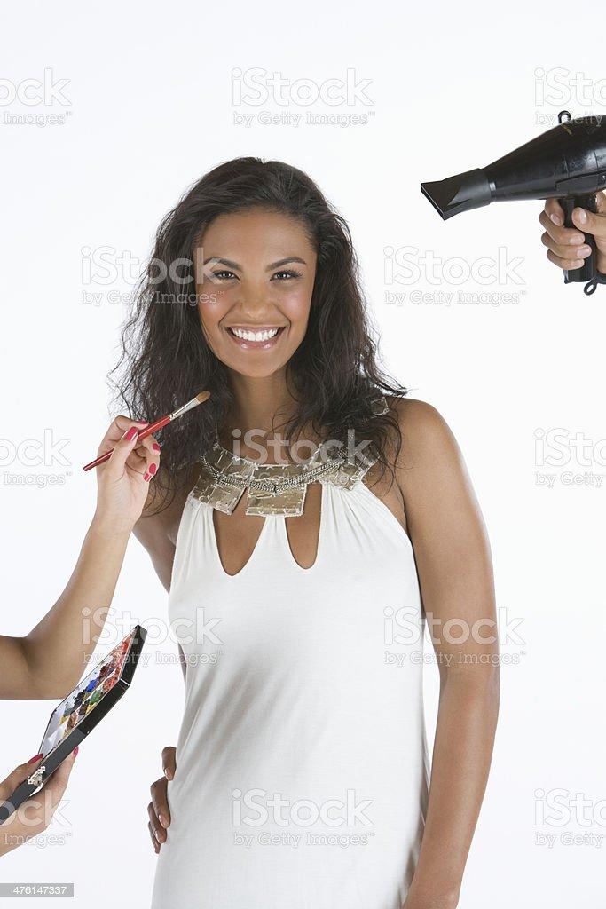 Happy Female Model Getting Ready royalty-free stock photo
