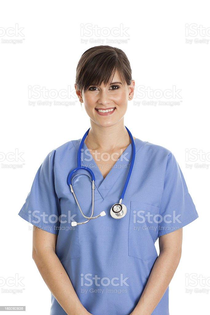 Happy Female Nurse Isolated on White Background royalty-free stock photo