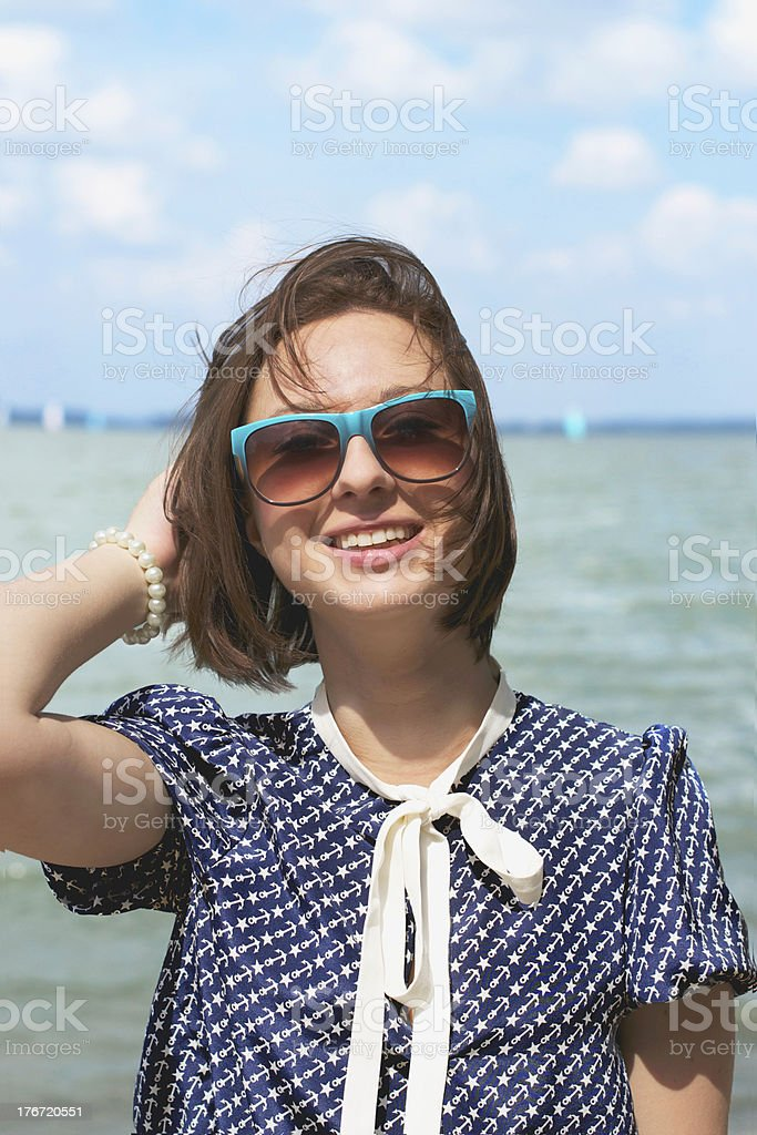 Happy female on vacation royalty-free stock photo