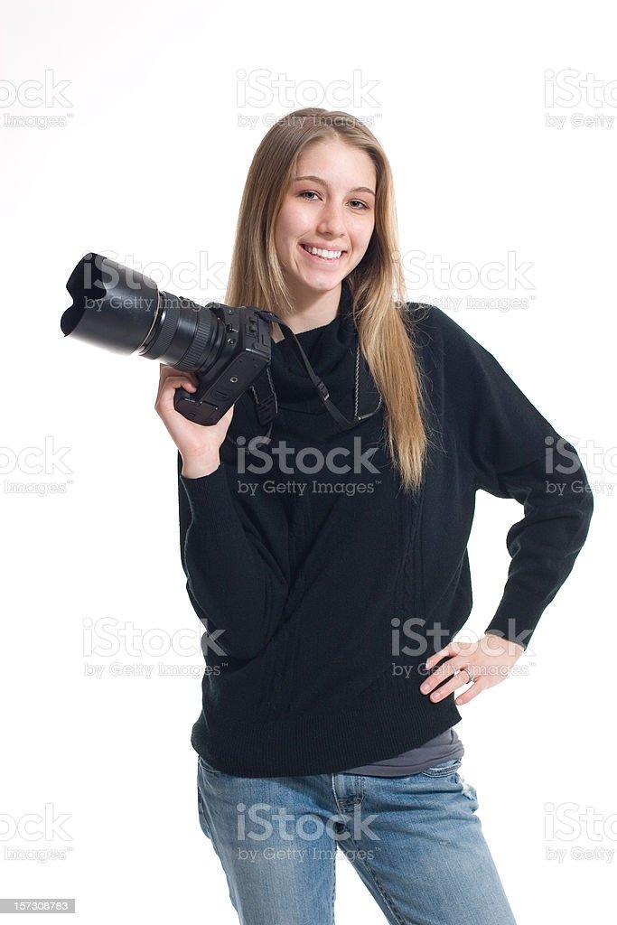 Happy Female Photographer Holding Camera Isolated White Background royalty-free stock photo
