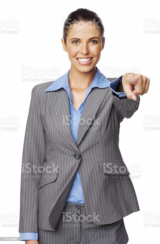 Happy Female Professional Pointing At You - Isolated royalty-free stock photo