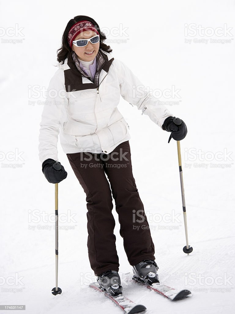 Happy female skier royalty-free stock photo