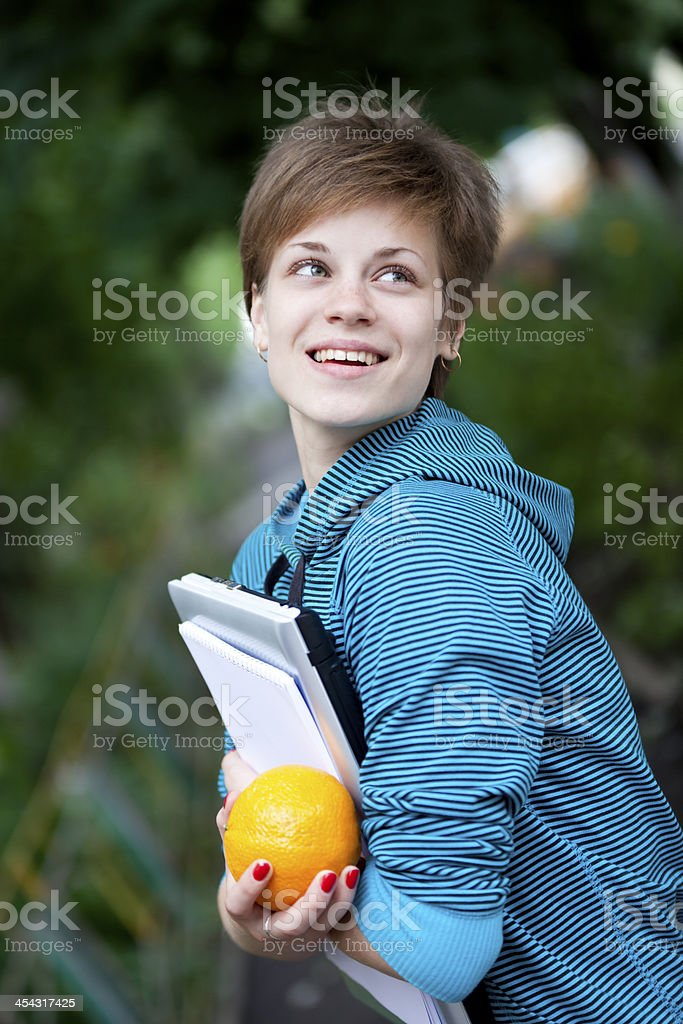 Happy Female Student Outdoors royalty-free stock photo