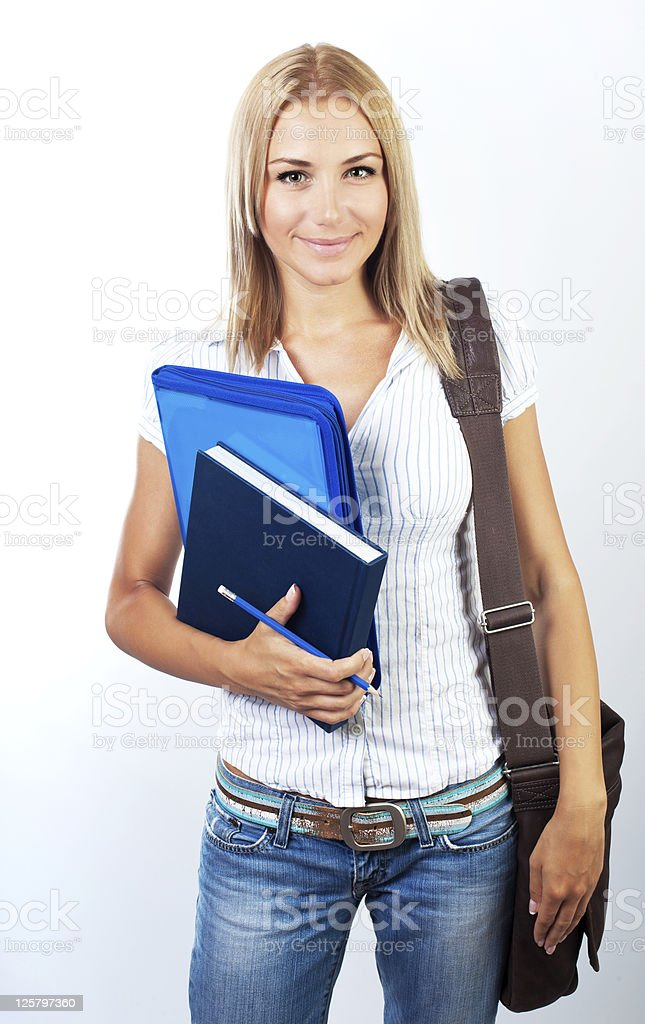 Happy female teen student portrait royalty-free stock photo
