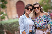 Happy female tourists in Cartagena