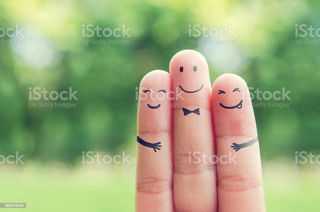 Happy finger art family. stock photo