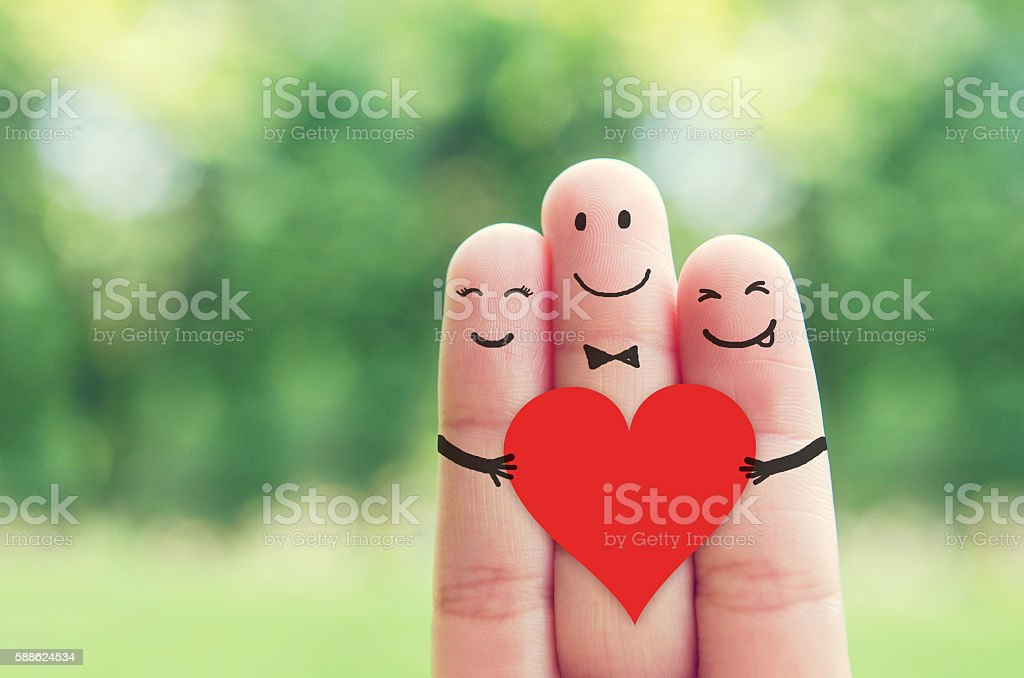 Happy finger art family. stock photo