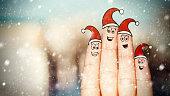 Happy Fingers Celebrating Christmas