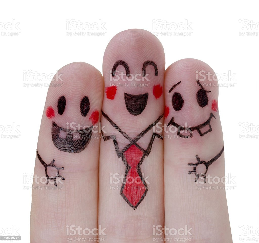 Happy fingers painted concept stock photo