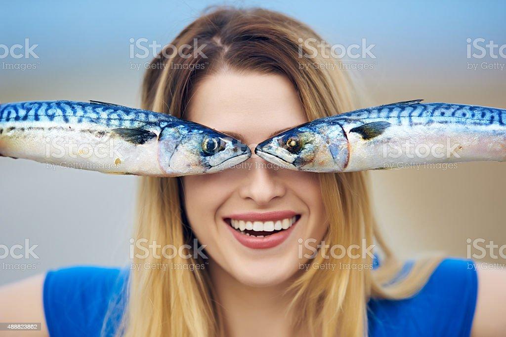 happy fisher woman stock photo