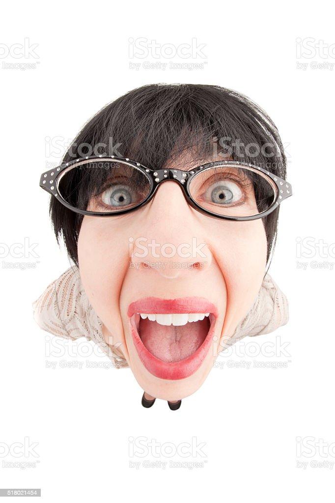 Happy Fisheye Geeky Woman stock photo