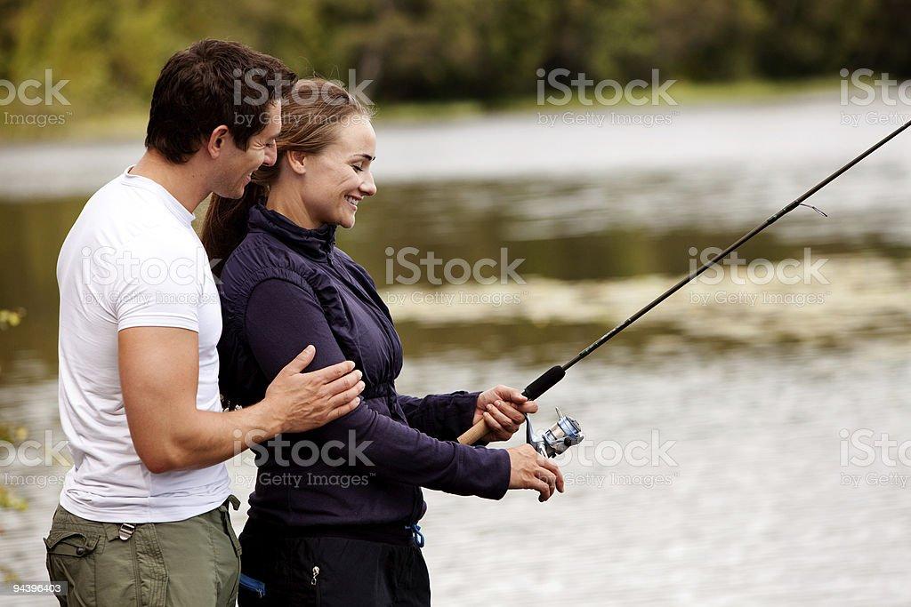Happy Fishing Woman royalty-free stock photo