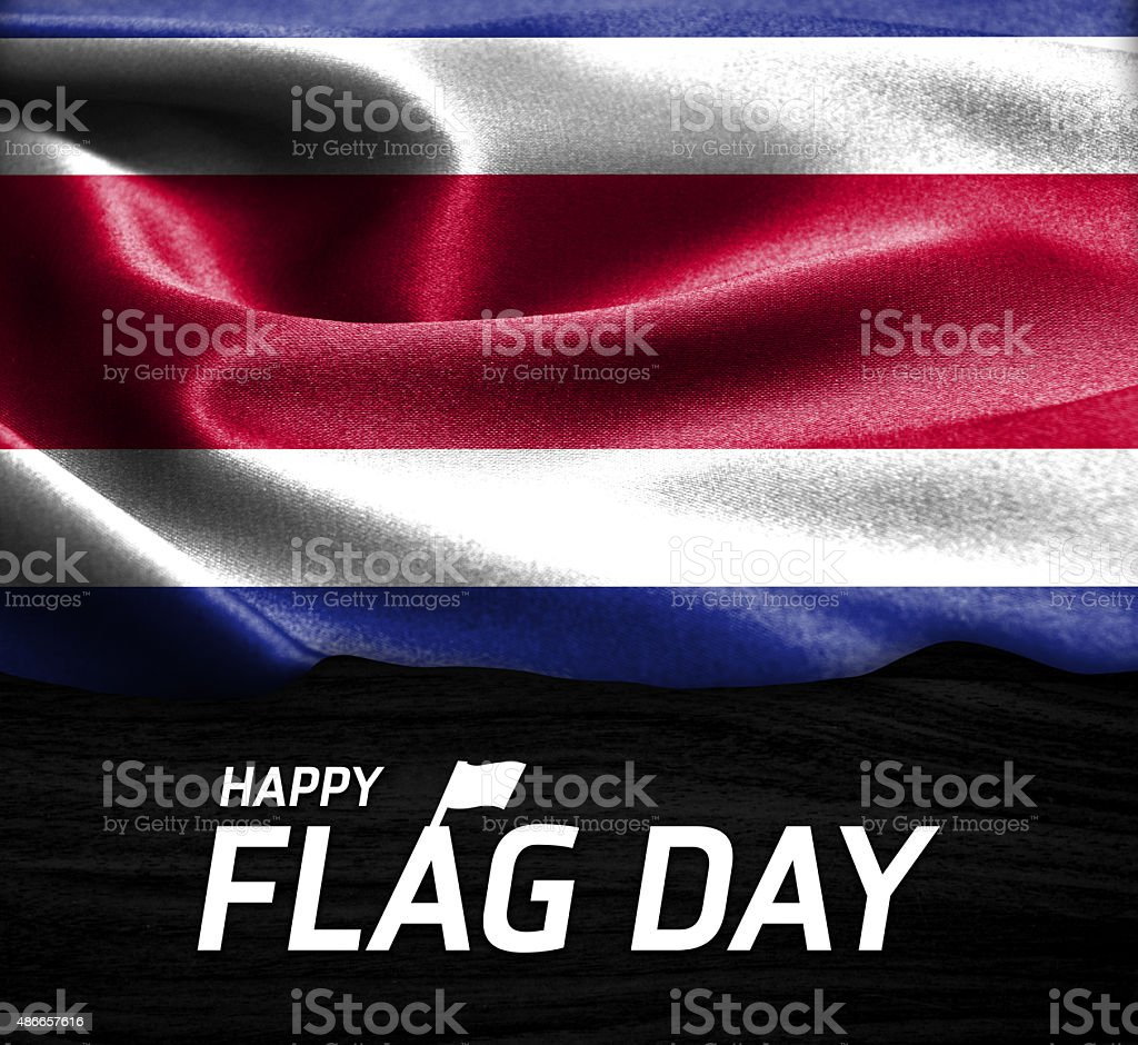Happy Flag Day Typography Costa Rica flag stock photo