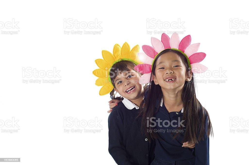 Happy Flower Girls stock photo