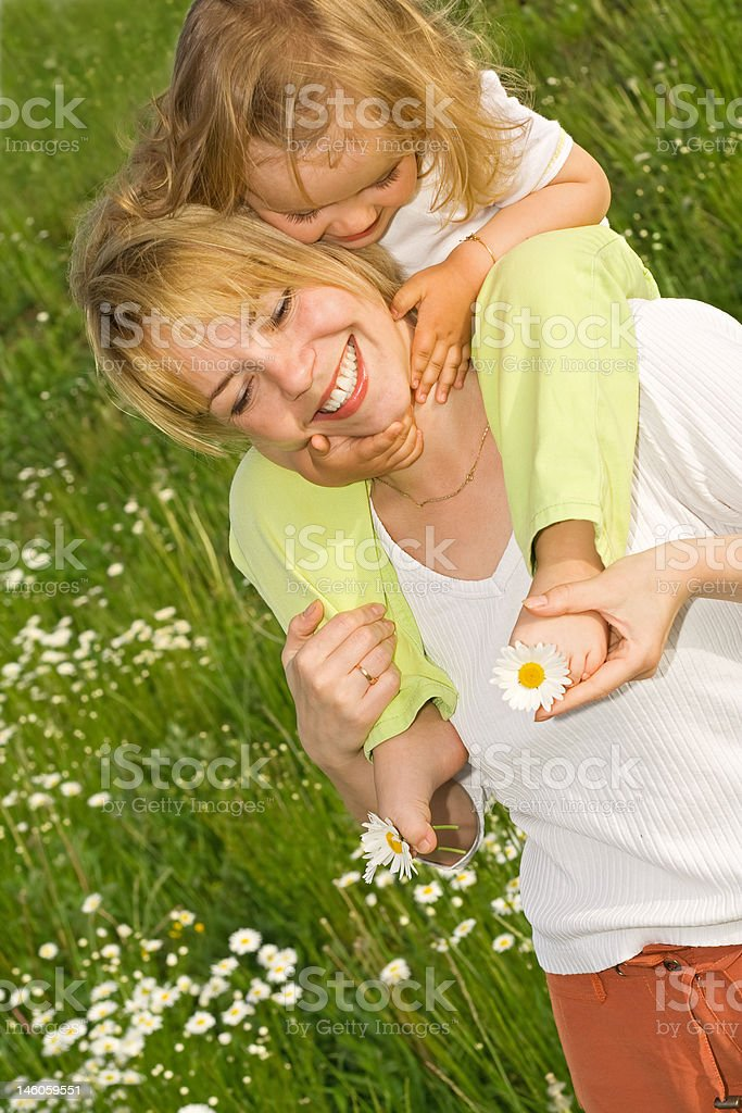 Happy flower picking royalty-free stock photo