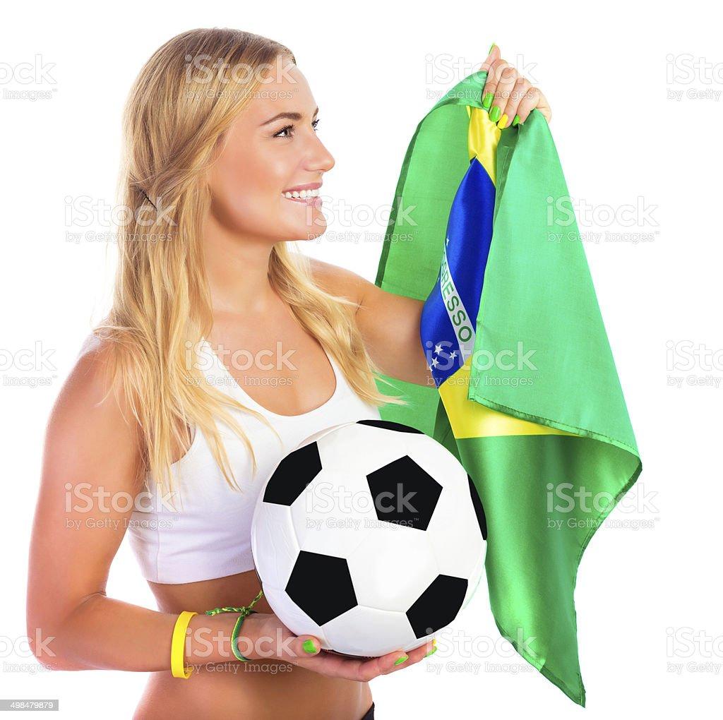 Happy football fan royalty-free stock photo