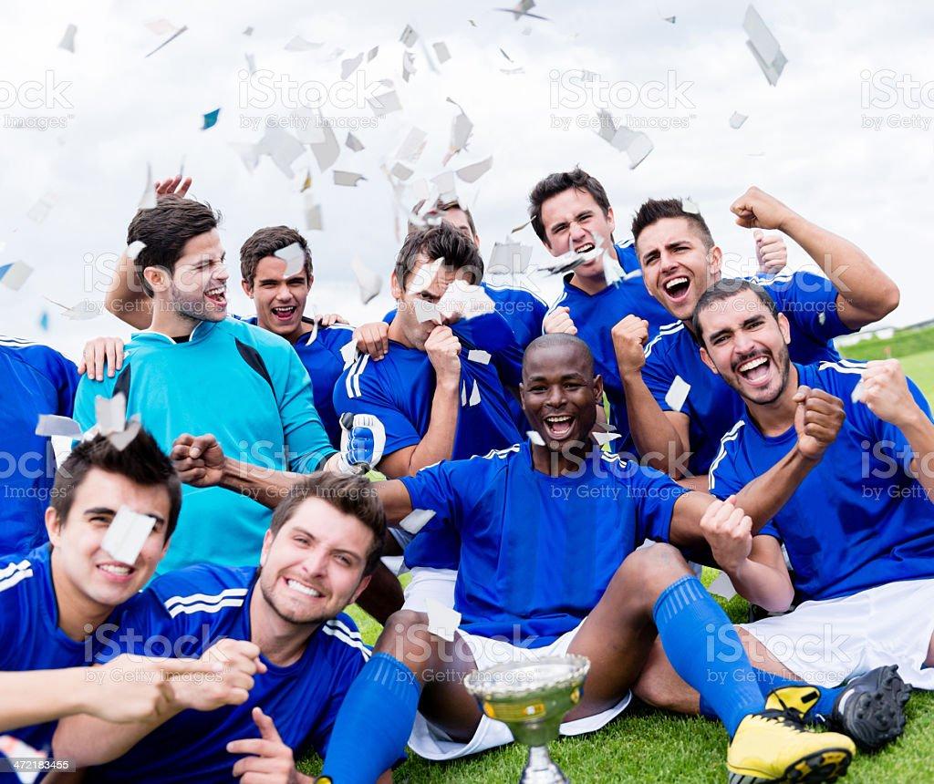Happy football team royalty-free stock photo
