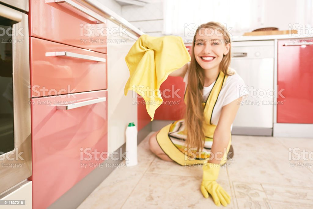 happy for cleaning my house stock photo