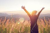 Happy Freedom in sunrise nature