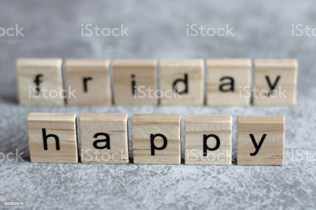 Happy friday word written on wood cube stock photo