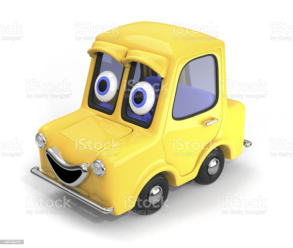Happy, friendly car 3D illustration stock photo