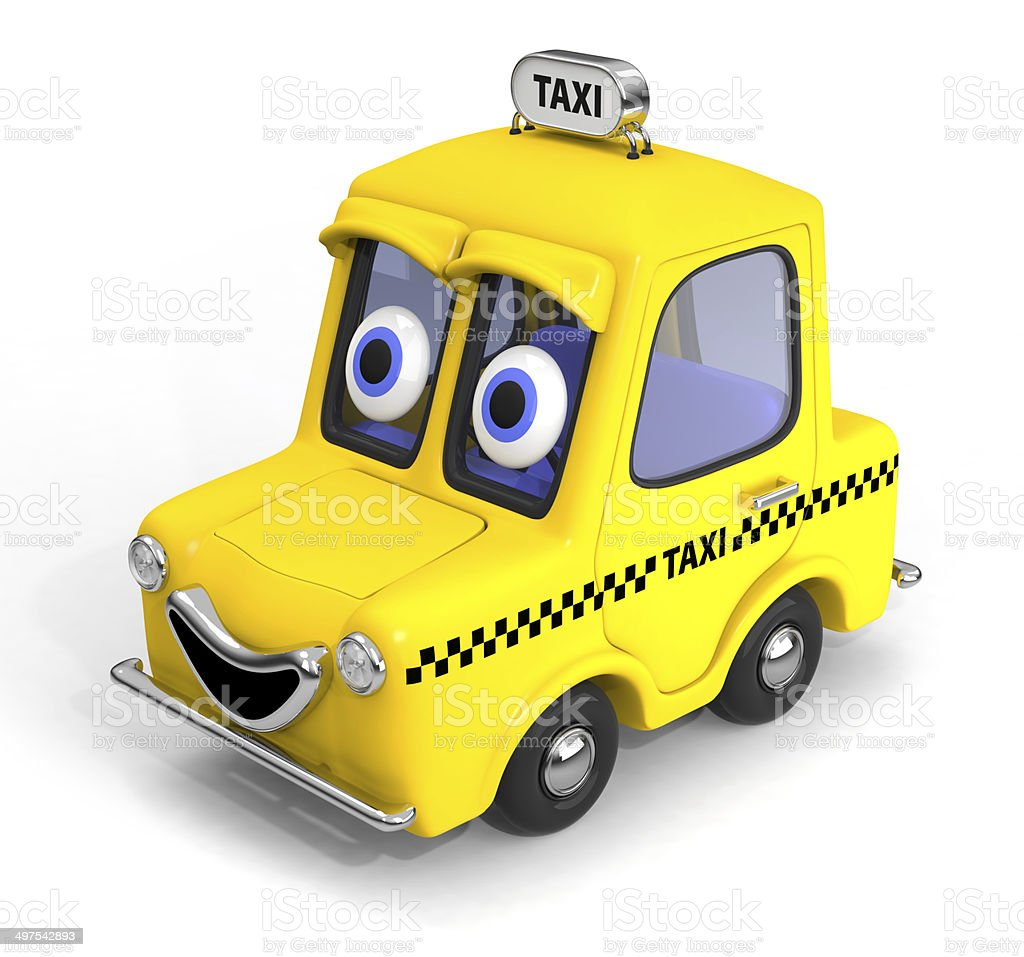 Happy, friendly taxi car 3D illustration stock photo