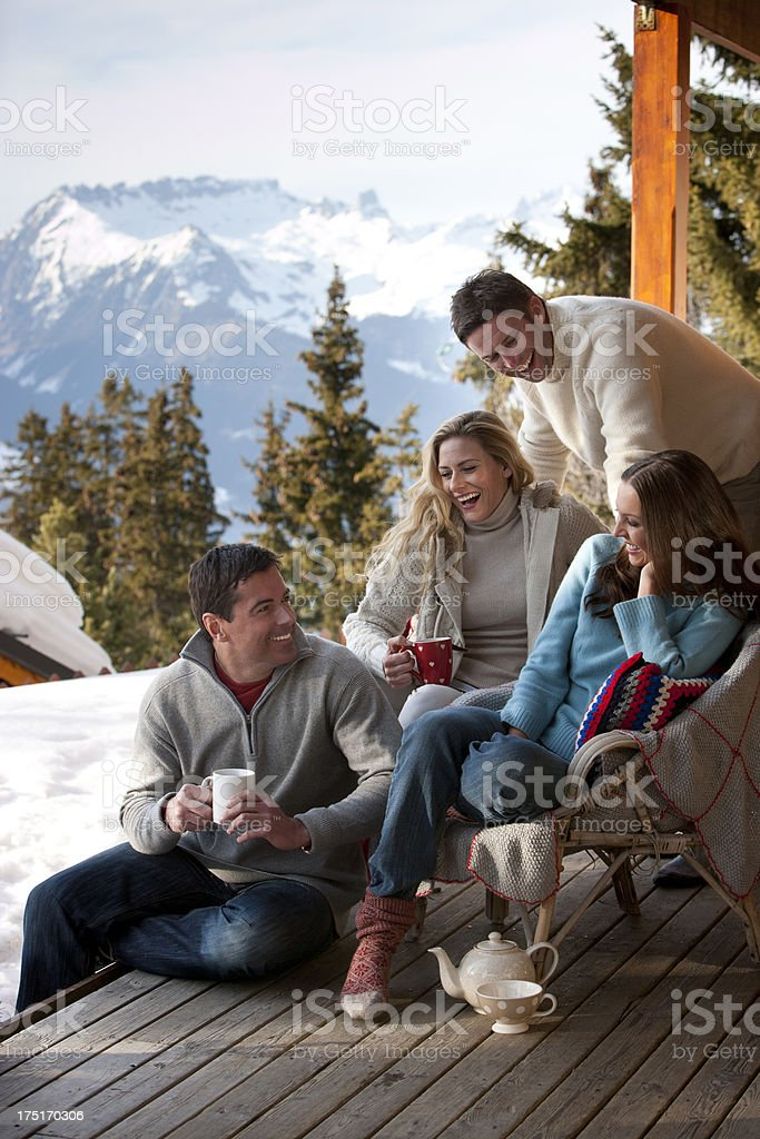Happy Friends After Skiing royalty-free stock photo
