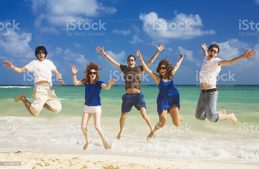 Happy Friends at the Beach royalty-free stock photo