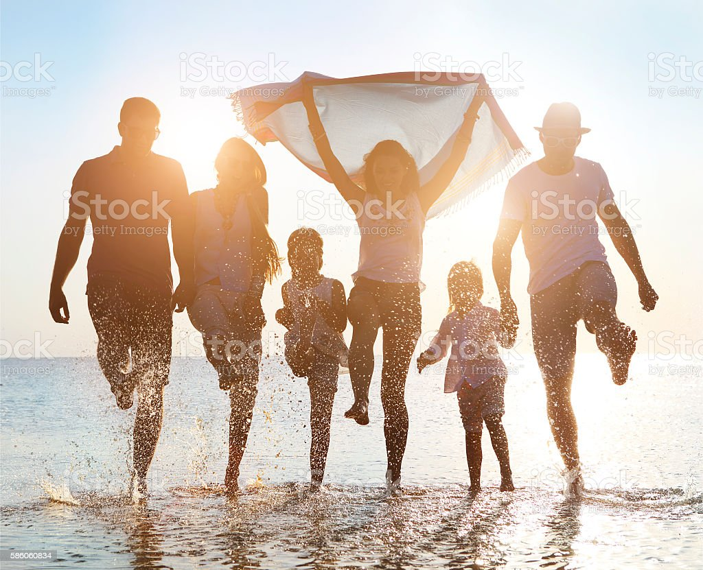 Happy friends celebration beach party summer stock photo