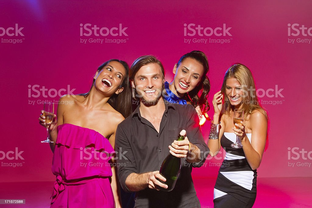 Happy Friends Enjoying With Drinks royalty-free stock photo