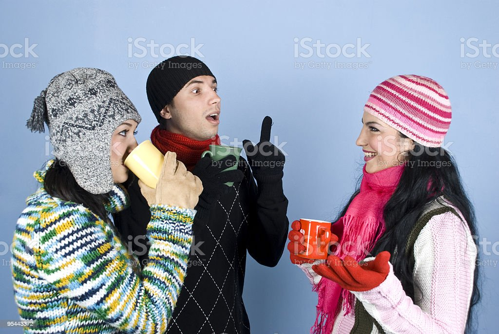 Happy friends have a conversation royalty-free stock photo