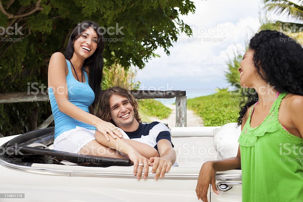 Happy friends laughing and hanging out royalty-free stock photo