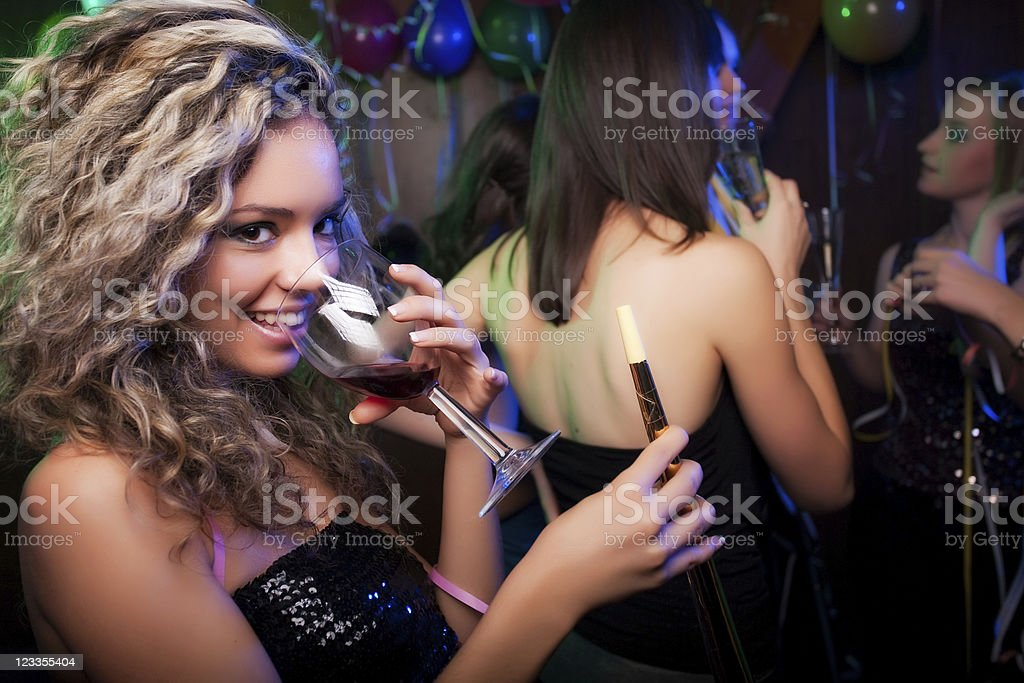 Happy friends on a party photoshoot royalty-free stock photo