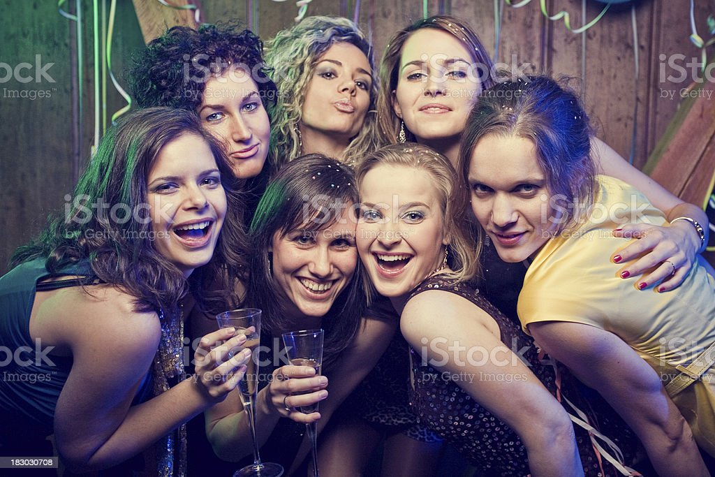 Happy friends on a party photoshoot stock photo