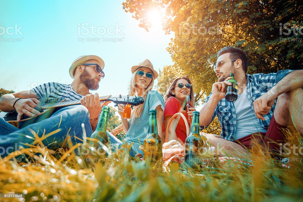 Happy friends on picnic in park stock photo