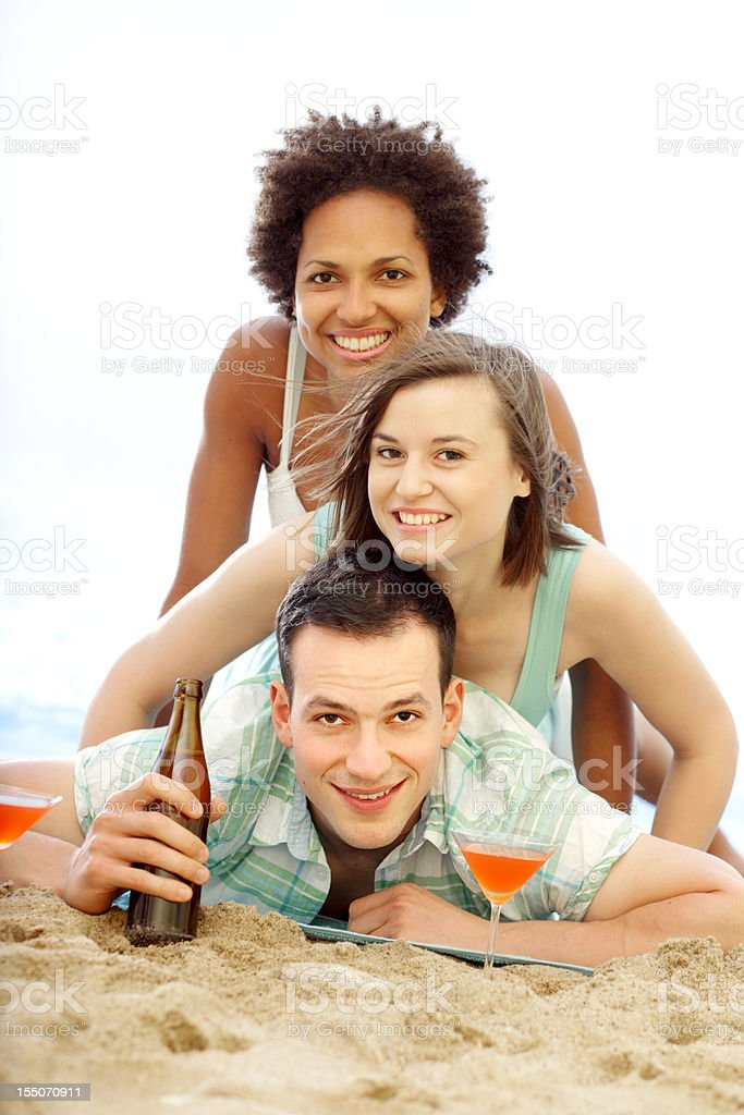 Happy Friends on the Beach royalty-free stock photo