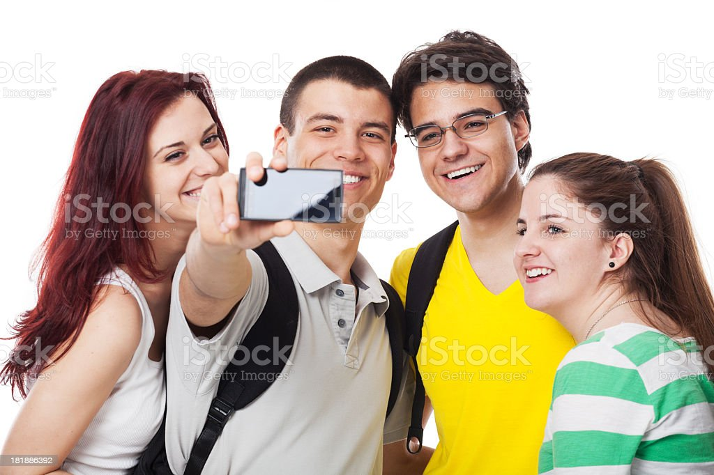 Happy Friends Taking Photo with Mobile Phone royalty-free stock photo